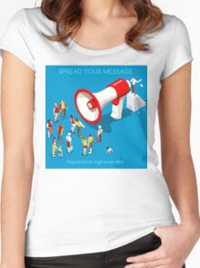 Social Promotion Concept Isometric Women's Fitted Scoop T-Shirt