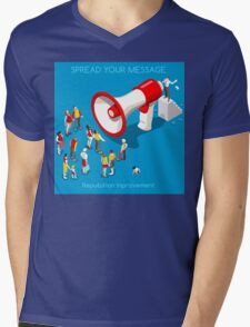 Social Promotion Concept Isometric Mens V-Neck T-Shirt