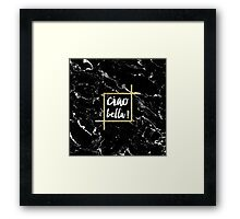 Stylish trendy typography gold leaf black marble Framed Print