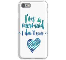 Modern watercolor funny mermaid typography iPhone Case/Skin