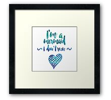 Modern watercolor funny mermaid typography Framed Print