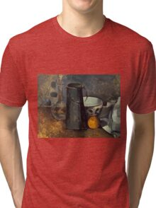 Paul Cezanne - Still Life with Carafe, Milk Can, Bowl, and Orange 1879-1880 Tri-blend T-Shirt