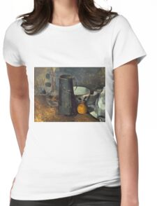 Paul Cezanne - Still Life with Carafe, Milk Can, Bowl, and Orange 1879-1880 Womens Fitted T-Shirt
