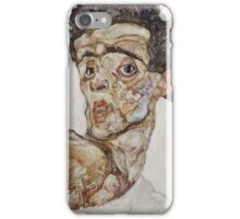 Egon Schiele - Self-Portrait with Raised Bare Shoulder 1912  Expressionism  Portrait iPhone Case/Skin