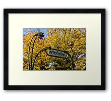 Famous Paris Metropolitain Sign with Golden Trees Background Framed Print