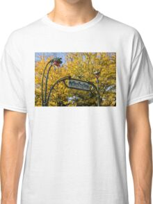 Famous Paris Metropolitain Sign with Golden Trees Background Classic T-Shirt