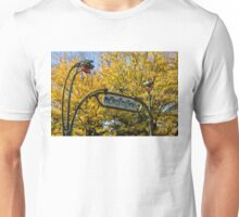 Famous Paris Metropolitain Sign with Golden Trees Background Unisex T-Shirt