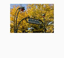 Famous Paris Metropolitain Sign with Golden Trees Background Unisex T-Shirt