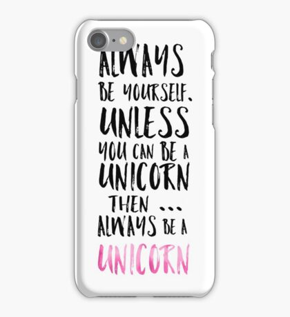 Modern funny unicorn quote typography girly iPhone Case/Skin