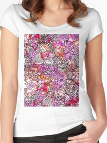 Stylish red purple watercolor floral illustration Women's Fitted Scoop T-Shirt