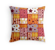 Patchwork seamless bright retro checkered stars elements pattern background Throw Pillow