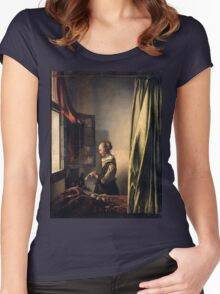 Johannes Vermeer - Girl Reading a Letter by an Open Window  1659 Women's Fitted Scoop T-Shirt