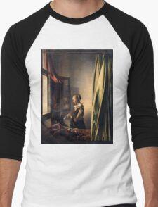 Johannes Vermeer - Girl Reading a Letter by an Open Window  1659 Men's Baseball ¾ T-Shirt
