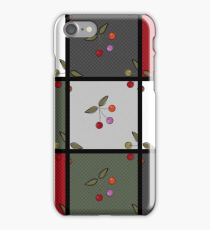 Patchwork seamless pattern texture background with cherries iPhone Case/Skin