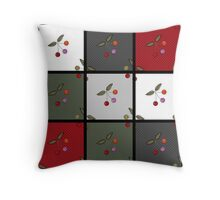 Patchwork seamless pattern texture background with cherries Throw Pillow