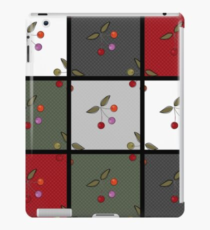 Patchwork seamless pattern texture background with cherries iPad Case/Skin
