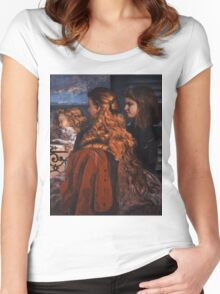 Gustave Courbet - Three Young Englishwomen by a Window 1865 , Girl with Red Hair Women's Fitted Scoop T-Shirt