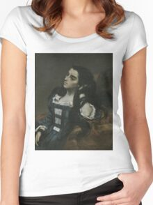Gustave Courbet - Spanish Woman 1855 ,  Portrait , Fashion  Women's Fitted Scoop T-Shirt