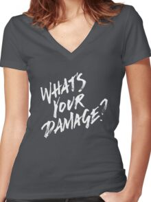 What's Your Damage? - White Text Women's Fitted V-Neck T-Shirt