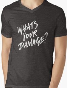 What's Your Damage? - White Text Mens V-Neck T-Shirt