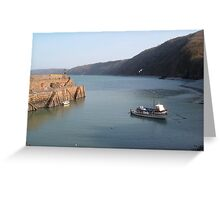 FISHING BOAT IN CLOVELLY HARBOUR DEVON Greeting Card