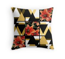 Patchwork seamless floral orange lilly pattern texture background with decorative elements Throw Pillow