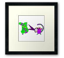 Crazy lemur with scissors Framed Print