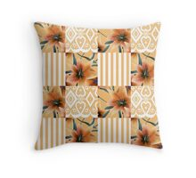 Patchwork seamless floral orange lilly pattern texture background with stripes Throw Pillow