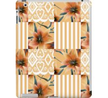 Patchwork seamless floral orange lilly pattern texture background with stripes iPad Case/Skin