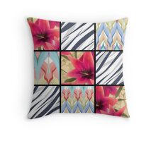 Patchwork seamless floral lilly pattern texture background with decorative elements Throw Pillow
