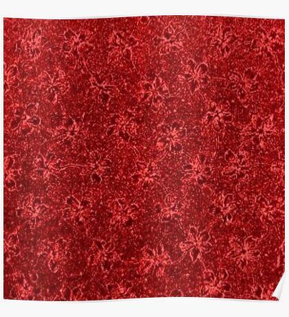 Vintage Floral Ribbon Red Poster