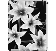 Seamless pattern with white lilies monochrome texture on black background iPad Case/Skin