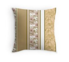 Retro colors floral roses vertical lines pattern texture beige brown background Throw Pillow