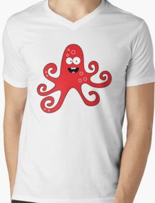 Funny cartoon girl octopus Mens V-Neck T-Shirt