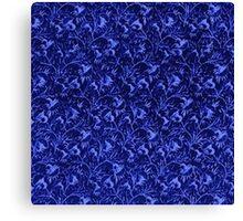 Vintage Flowers Sapphire Blue Canvas Print