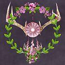 Antlers and Flowers - Geweih mit Blumen by Martina Cross