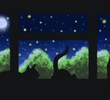 Window Sill Cats - Night Sticker