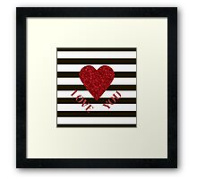 LOVE YOU Valentine Red glitter heart and black stripes for sweetheart. Valentine's Day. Valentine's day shiny with sparkles. Framed Print