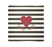 LOVE YOU Valentine Red glitter heart and black stripes for sweetheart. Valentine's Day. Valentine's day shiny with sparkles. Scarf