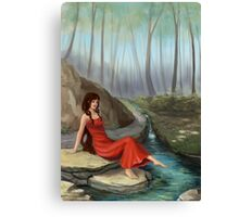 Forest Rivulet - Cute Girl In Forest Canvas Print