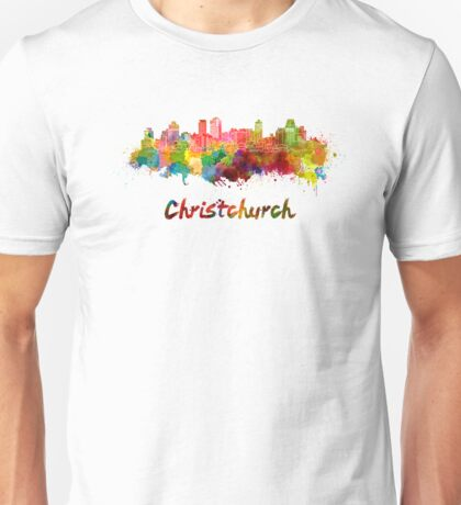 Christchurch skyline in watercolor Unisex T-Shirt
