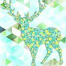 Flower Deer with Triangles - Blumen Hirsch mit Dreiecken by Martina Cross