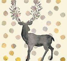 Deer, Dots, Gold - Hirsch, Punkte, Gold by Martina Cross