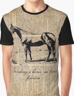 Horse Champion Colt Over Vintage Dictionary Page Graphic T-Shirt
