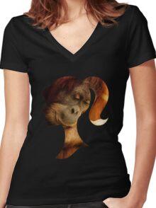 Orangutan Hides in Barbie Girl's Soul Women's Fitted V-Neck T-Shirt
