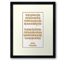 J.R.R, Tolkien, The Fellowship of the Ring, All that is gold does not glitter, Framed Print