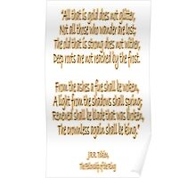 J.R.R, Tolkien, The Fellowship of the Ring, All that is gold does not glitter, Poster