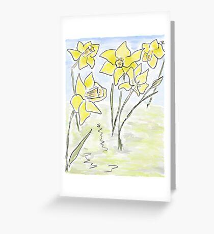 Bright Spring Daffodils (Digital Watercolour) Greeting Card