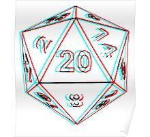 3D D20 Dice Poster