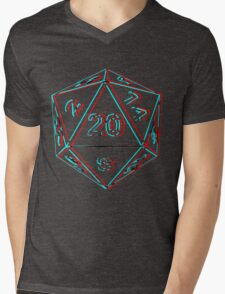 3D D20 Dice Mens V-Neck T-Shirt